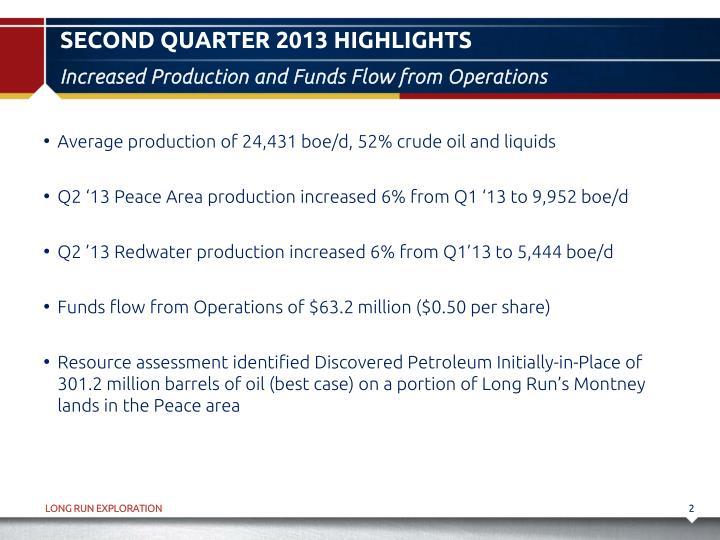Second quarter 2013 highlights