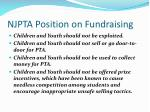 njpta position on fundraising