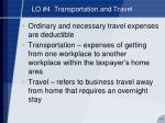 lo 4 transportation and travel