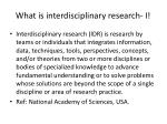 what is interdisciplinary research i