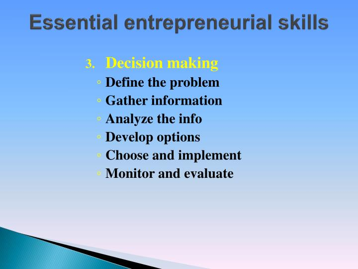 Essential entrepreneurial skills1