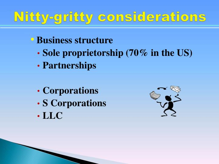Nitty-gritty considerations