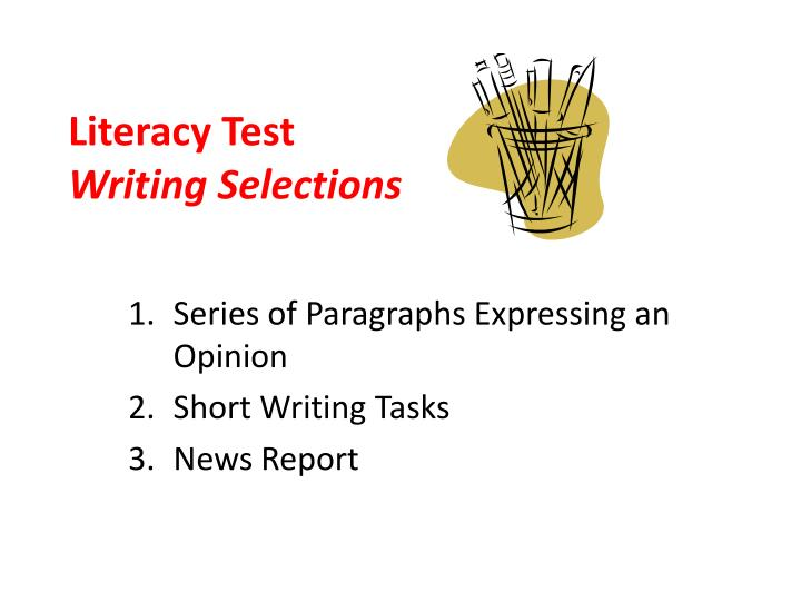 literacy test writing selections n.