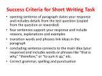 success criteria for short writing task