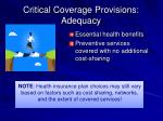 critical coverage provisions adequacy