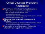 critical coverage provisions affordability
