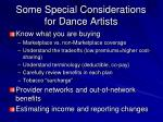 some special considerations for dance artists