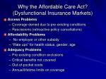 why the affordable care act dysfunctional insurance markets