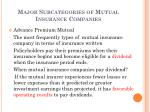 major subcategories of mutual insurance companies