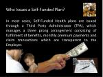 who issues a self funded plan