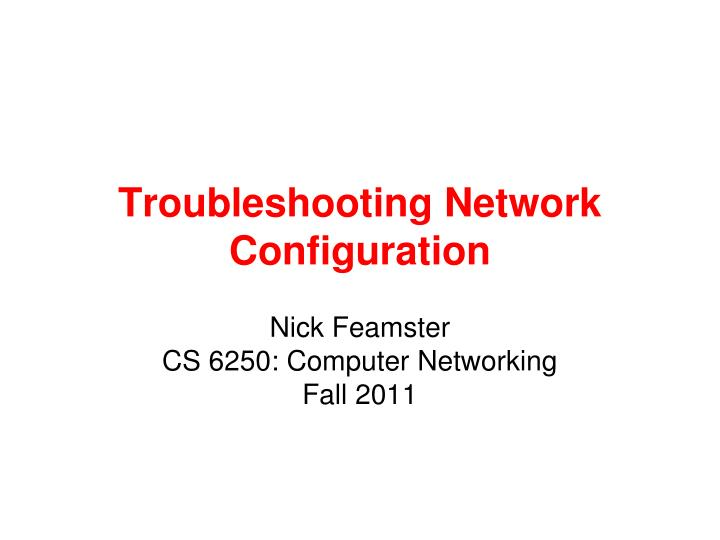 troubleshooting network configuration n.