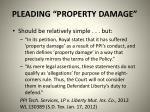 pleading property damage
