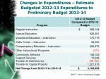 changes in expenditures estimate budgeted 2012 13 expenditures to preliminary budget 2013 14