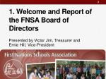 1 welcome and report of the fnsa board of directors