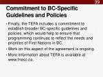 commitment to bc specific guidelines and policies