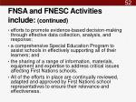fnsa and fnesc activities include continued