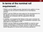 in terms of the nominal roll requirement