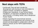next steps with tefa1