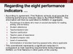 regarding the eight performance indicators