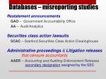 databases misreporting studies