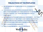 obligations of the employee