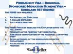 permanent visa regional sponsored migration scheme visa subclass 187 rsms1