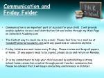 communication and friday folder