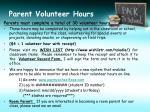 parent volunteer hours