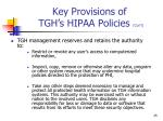 key provisions of tgh s hipaa policies con t8