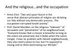 and the religious and the occupation