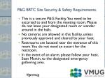 p g brtc site security safety requirements