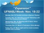 expansion ufnabj week nov 18 22