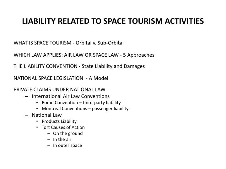 liability related to space tourism activities n.