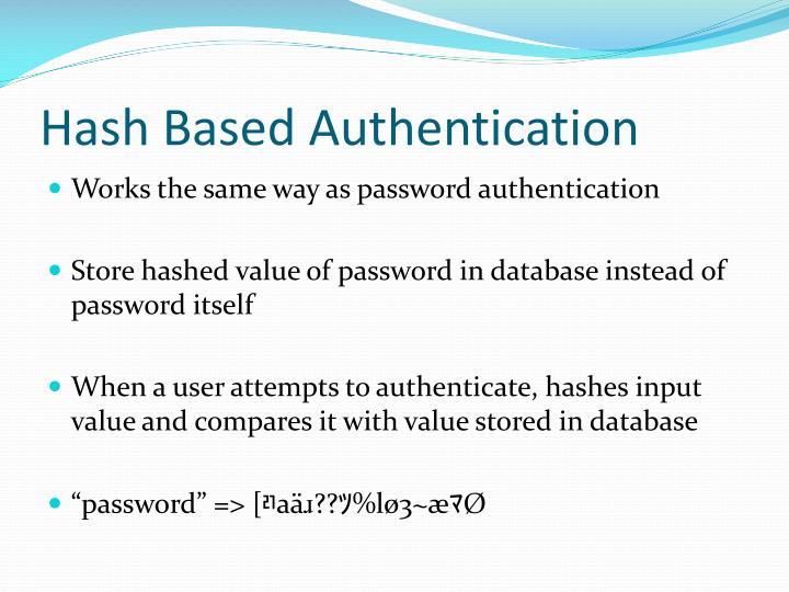 Hash Based Authentication