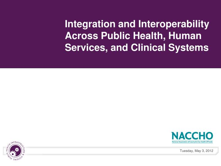 integration and interoperability across public health human services and clinical systems n.