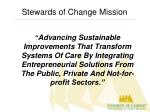 stewards of change mission