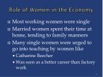 role of women in the economy