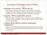 example business value of dss
