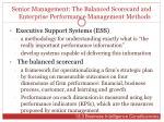 senior management the balanced scorecard and enterprise performance management methods