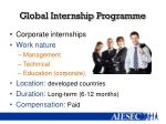 g lobal internship programme