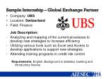 sample internship global exchange partner