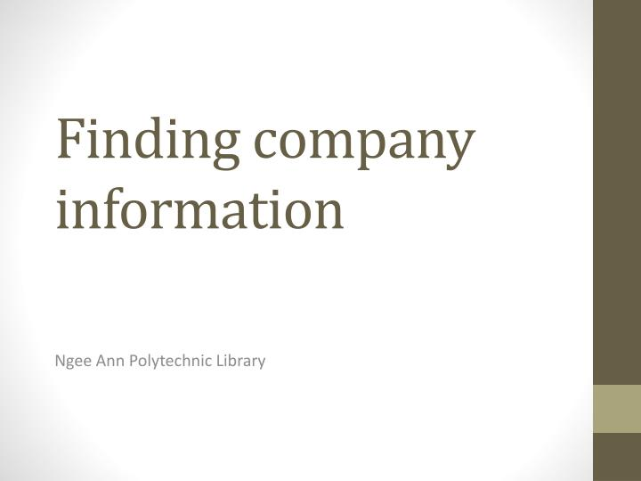 finding company information n.
