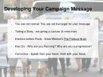 developing your campaign message