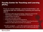 faculty center for teaching and learning fctl
