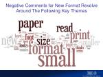 negative comments for new format revolve around the following key themes