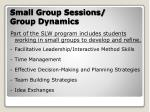 small group sessions group dynamics