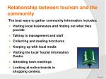 relationship between tourism and the community4