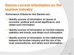 source current information on the tourism industry