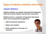 types of industry statistics and trends