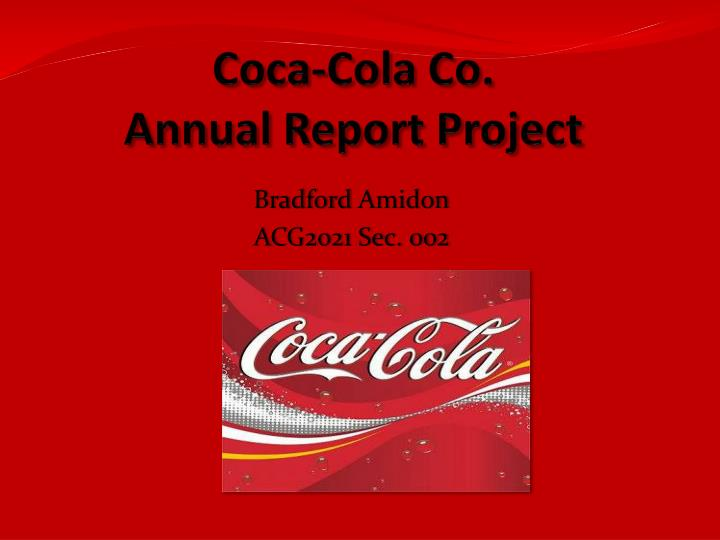 ppt coca cola co annual report project powerpoint presentation